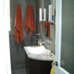 Vanity with shower entrance